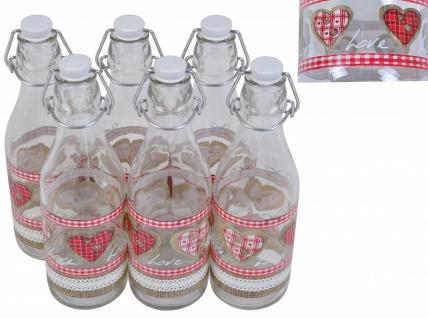 Drahtbügelflasche 6er-Set Country Love 0, 5L Bügelverschluss Saftflasche Flasche