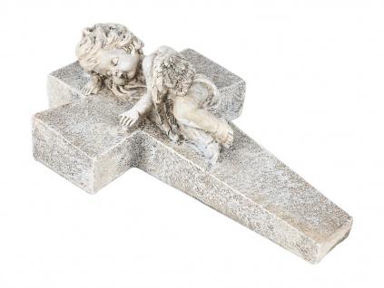 Engel auf Kreuz Höhe 24cm Grabschmuck Schutzengel Figur Garten Dekoration Statue