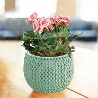 Blumentopf türkis grün Strickmuster Pflanztopf Pflanzkübel Blumenkübel Übertopf
