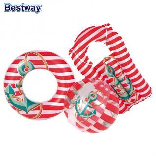 Bestway Kinder Strandset 3 tlg. Strandspielzeug Wasserball Schwimmring Matratze - Vorschau 1