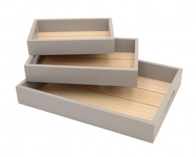 3tlg. Holztablett Set Serviertablett Dekotablett Frühstückstablett Deko Küche