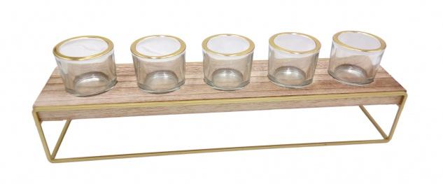Teelichthalter aus Holz und Metall mit 5 Gläsern Holztablett Windlicht Tischdeko