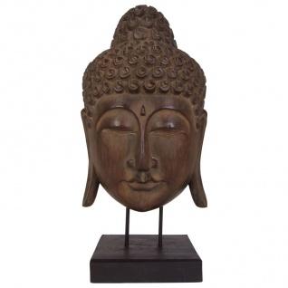 Buddha Maske 65cm auf Holzsockel Statue Dekofigur Skulptur Holzmaske Feng Shui
