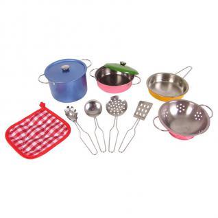 Spielküchen-Zubehör 11tlg Edelstahl Kinder-Spiel-Küche Töpfe Pfanne Küchenhelfer