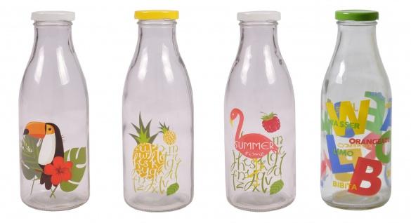 Milchflasche 900ml Glasflasche Getränkeflasche Wasserflasche Trinkflasche Deko