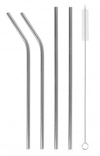 Edelstahl-Trinkhalme mit Reinigungsbürste 5-tlg Mehrweg Trinkröhrchen Strohhalm
