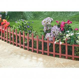 Zierzaun 2, 38m Holzoptik Beetumrandung Gartenzaun Beeteinfassung Steckzaun Zaun