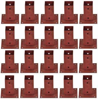 20x Aufschraubhülse 71x71x150 Pfostenträger Pfostenschuh Holzpfosten Hülse braun