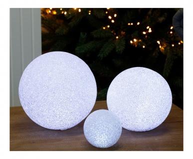 LED-Deko-Schneeball 18cm kaltweiß Lichtkugel Weihnachtsdeko Winterdeko Tischdeko