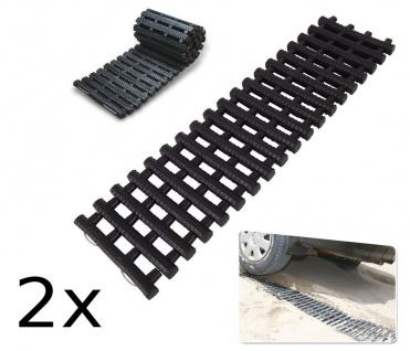 2er Set PKW-Anfahrhilfe Antirutschmatte bis 5 Tonnen Traktionsmatte Schneekette