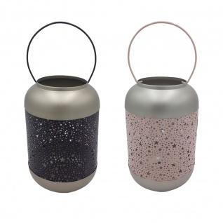 Metall Laterne Sterne rosa oder blau Windlicht Kerzenhalter Deko Kerzenständer