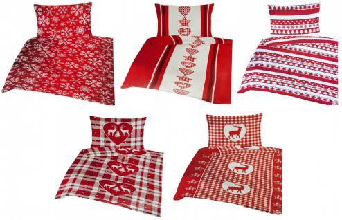 Bettwäsche Weihnachten Mikrofleece Garnitur 135 x 200 cm Bettwaren Bettbezug