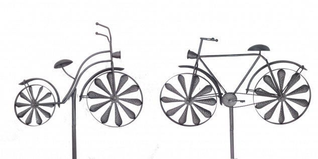 Gartenstecker Fahrrad 160cm silbergrau Windrad Windspiel Gartendeko Beetdeko