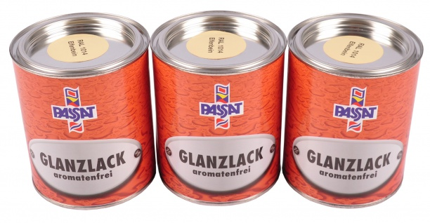 Passat Glanzlack 3 x 750 ml RAL 1014 Elfenbein Decklack Holzlack Lackfarbe Lack