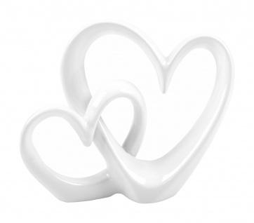 Deko-Herzen weiß Dekofigur Dekoherz Keramik Herz Skulptur Tischdeko 27x22cm