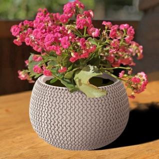 Blumentopf mocca taupe Strickmuster Pflanztopf Pflanzkübel Blumenkübel Übertopf