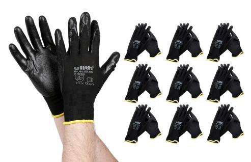Arbeitshandschuhe 10 Paar Gr.9 schwarz Schutzhandschuhe Montagehandschuhe Garten