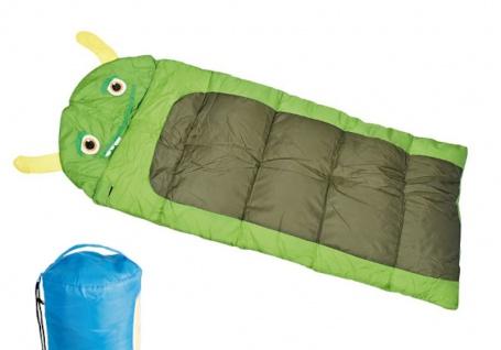 Kinderschlafsack Monster im Tragebeutel 170x70cm grün blau Schlafsack Camping