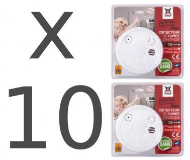 10x Rauchmelder 2er Set mit 5 Jahre Batterie 85 dB Rauch-Warnmelder Feuermelder