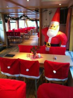 Stuhlhusse Nikolausmütze Weihnachtsmütze Stuhlüberwurf Weihnachtsdeko Stuhlbezug - Vorschau 4