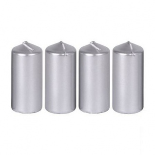 4er-Set Metallic-Stumpenkerzen glatt 40x90 mm Silber Dekoration Kränze Gestecke