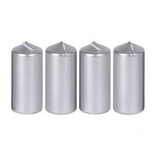 Metallic-Stumpenkerzen Silber 4er-Set 40x90mm Adventskranzkerzen Weihnachtsdeko