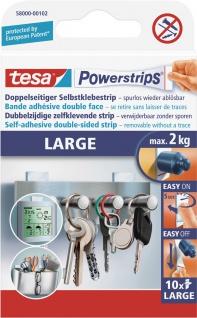 "tesa POW.STRIPS Doppelseitige Klebestreifen ,, Powerstrips® Large"" 58000 Large-inhalt-10-58000-102"