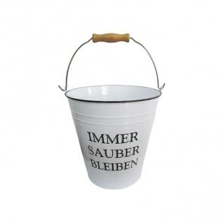Deko Eimer 7L weiß Putzeimer Wassereimer Metalleimer Blecheimer Vintage Retro - Vorschau 1