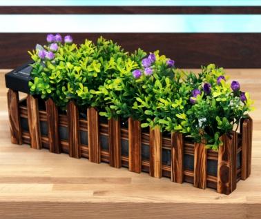 LED Solar-Blumenkasten Gartenzaun 36cm mit Kunstpflanzen Gartendeko Balkonkasten - Vorschau 1