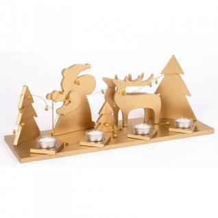 Holz-Adventsgesteck gold Adventskranz Weihnachtsdeko Tischdeko Teelichthalter