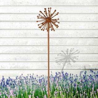 Metall-Gartenstecker Allium Rostoptik Blume Blüte Beetstecker Gartendekoration