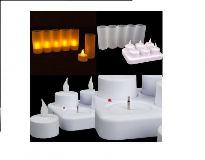 LED-Teelichter mit Teelichthalter 6er-Set mit Ladestation