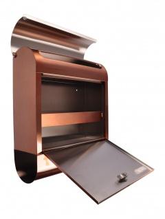 Edelstahl Briefkasten Kupferfarben mit Zeitungsfach Postkasten Wandbriefkasten - Vorschau 4