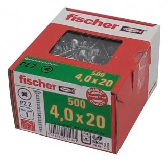 500x fischer Spanplattenschrauben 4, 0x20 PZ2 Holzschrauben verzinkt Vollgewinde