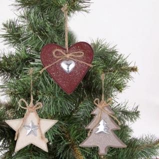 Holz Weihnachtsdeko Anhänger 3er-Set Herz Stern Tanne Baumschmuck Fensterdeko