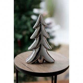 Deko-Tanne aus Keramik 13x20x4cm Silber Tannenbaum Winterdeko Weihnachtsdeko