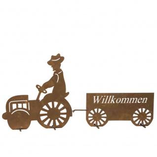 Willkommensschild Traktor, H 43 cm Metall mit Edelrost