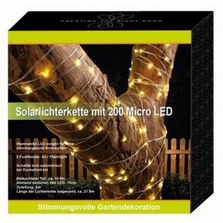 Solar-Lichterkette 200 Micro-LEDs 21, 9m Warmweiß Gartenbeleuchtung Terrassendeko