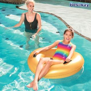 Bestway Schwimmreifen Gold 91cm Schwimmring Schwimmhilfe Badering zwei Griffe - Vorschau 4