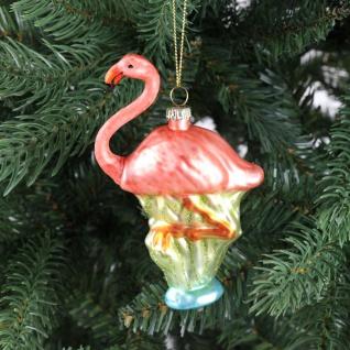 Glas-Weihnachtsbaum-Anhänger Flamingo 12, 5cm Christbaumschmuck Weihnachtsdeko
