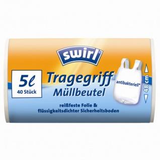 Müllbeutel antibakteriell 5 l, 40 Stück mit Tragegriff