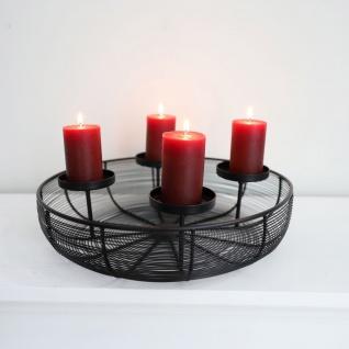 Metall-Adventskranz Ø36cm mit Metallschale Weihnachtsdeko Kerzenhalter Tischdeko