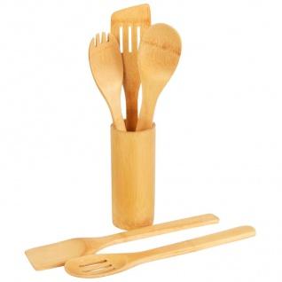 Bambus Küchenhelfer 5er-Set im Utensilienhalter Kochbesteck Löffel Pfannenwender