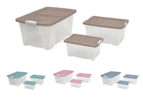 Allzweck-Stapelbox 3er-Set mit Deckel Aufbewahrungsbox Rollenbox Spielzeugkiste