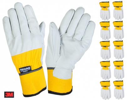 Thermo-Arbeitshandschuhe 3M Thinsulate Lederhandschuhe Handschuhe Montage Winter - Vorschau 5