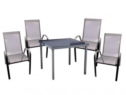 Gartentisch + 4 Stapelstühle Sitzgarnitur Essgruppe Gartengarnitur Gartenset