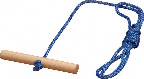 Schlittenleine blau mit Holzgriff 120cm Schlittenseil Zugseil Leine Seil Kordel