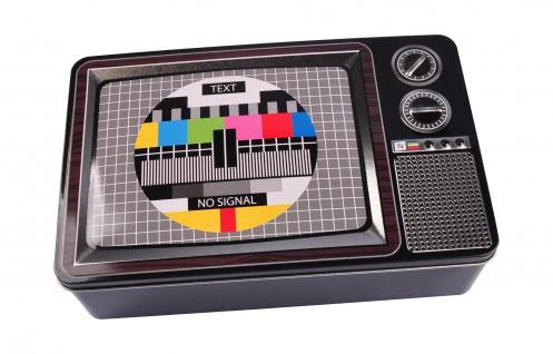 Metalldose 3D Fernseher 27x17x7cm Retro Blechdose Keksdose Vorratsdose Deko Dose