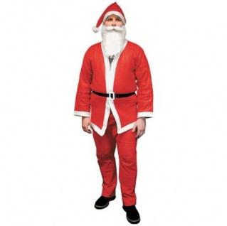 Nikolauskostüm Weihnachtsmann-Kostüm Karneval Hose Mantel Mütze Bart Gürtel