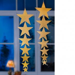 Folien-Mobile Sterne goldfarben Girlande Weihnachtsschmuck 64 cm lang